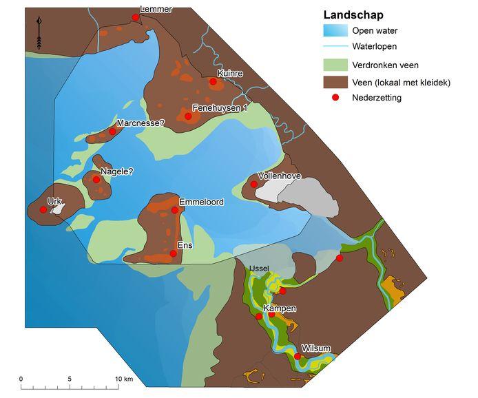 De Noordoostpolder rond 1100 na Christus, met inmiddels verdwenen nederzettingen Marcnesse, Nagele en de dorpen Fenehuysen.
