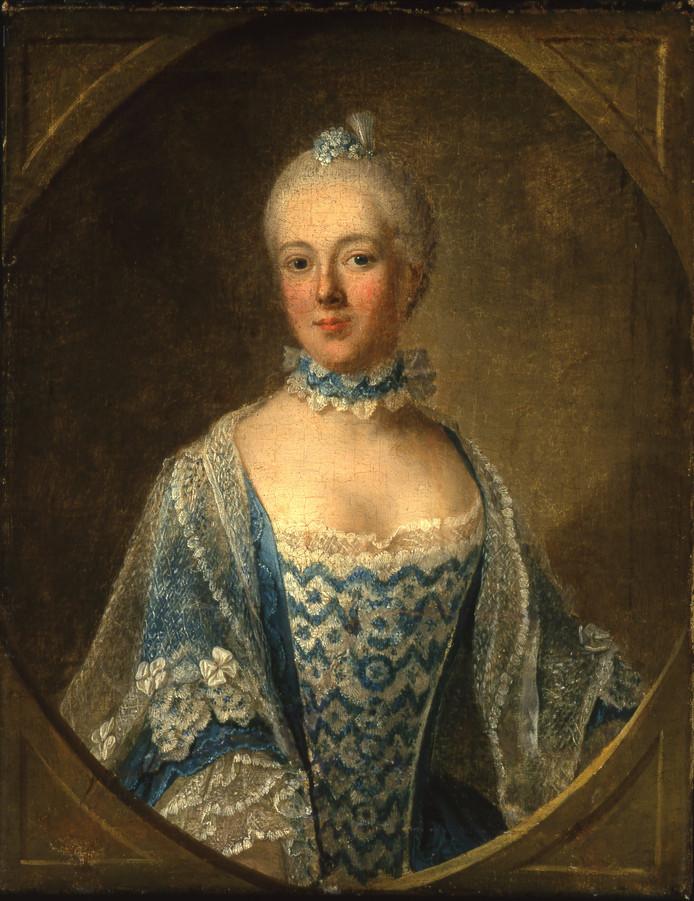 Schrijfster Belle van Zuylen, haar vroegste portret op 18-jarige leeftijd.