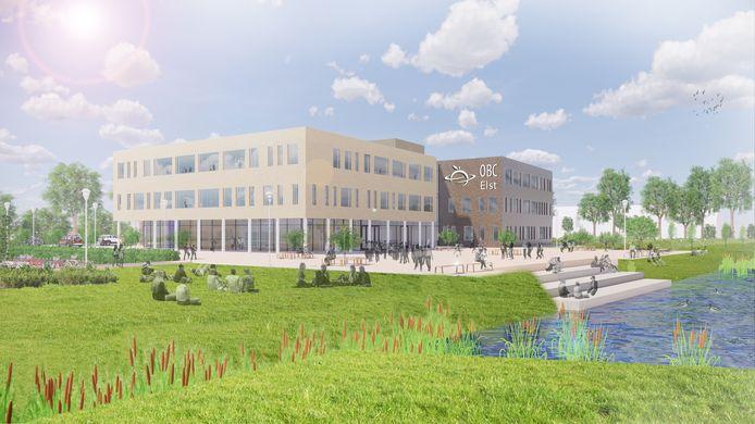 Het voorlopige ontwerp voor het nieuwe OBC aan de Bussel. De school wil tips van omwonenden, ouders en leerlingen nog zoveel mogelijk in het definitieve plan meenemen.
