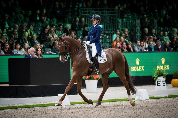 Madeleine Witte-Vrees in actie op vrijdag bij Indoor Brabant, op de rug van Cennin.