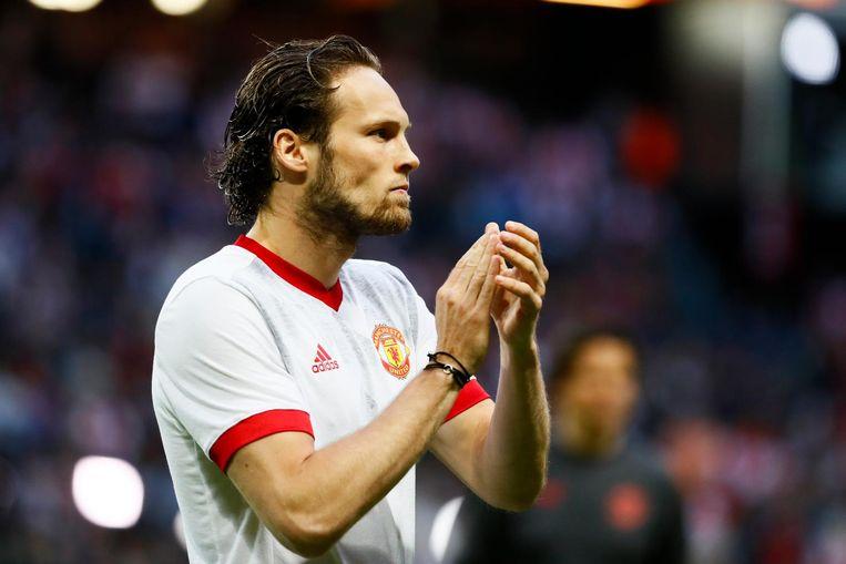 Daley Blind van Manchester United tijdens de warming-up voor de finale van de Europa League tegen Manchester United. Beeld anp