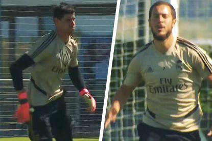 Zweten geblazen in Madrid: Hazard en Courtois leggen er de pees op tijdens training