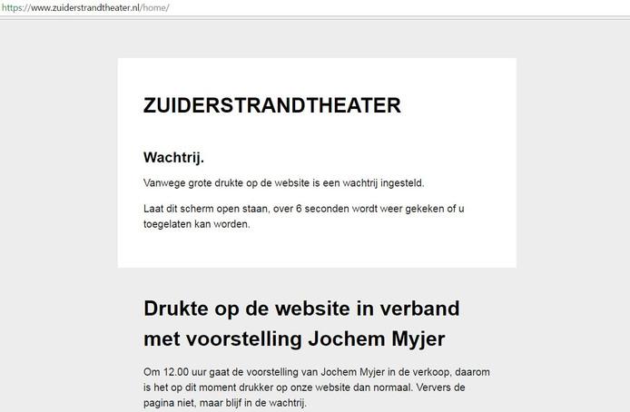 Deze webpagina krijgen wachtenden te zien als het te druk is op de website van het Zuiderstrandtheater.
