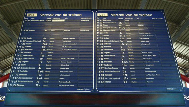Het blauwe bord zoals het vroeger op Utrecht Centraal hing. Beeld anp