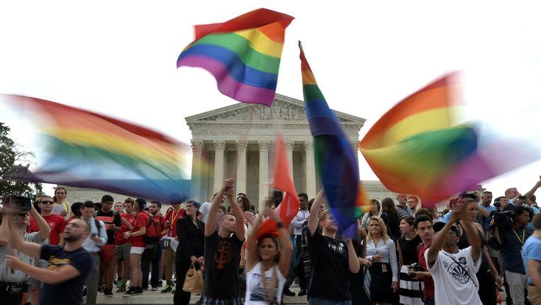 Mensen vieren de uitspraak van het Hooggerechtshof over het homohuwelijk in Washington. Beeld afp
