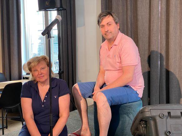 Katleen Haentjens en Ivan Saerens op het podium in De Abt