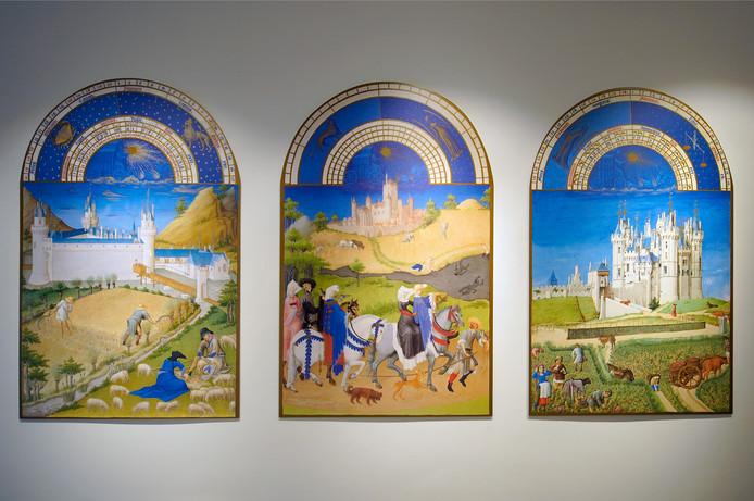 Drie panelen met uitvergrotingen van werk van de Gebroeders Van Lymborch.
