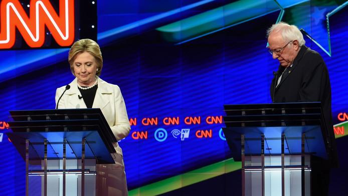Kandidaten voor de Democratische nominatie: Hillary Clinton en Bernie Sanders.