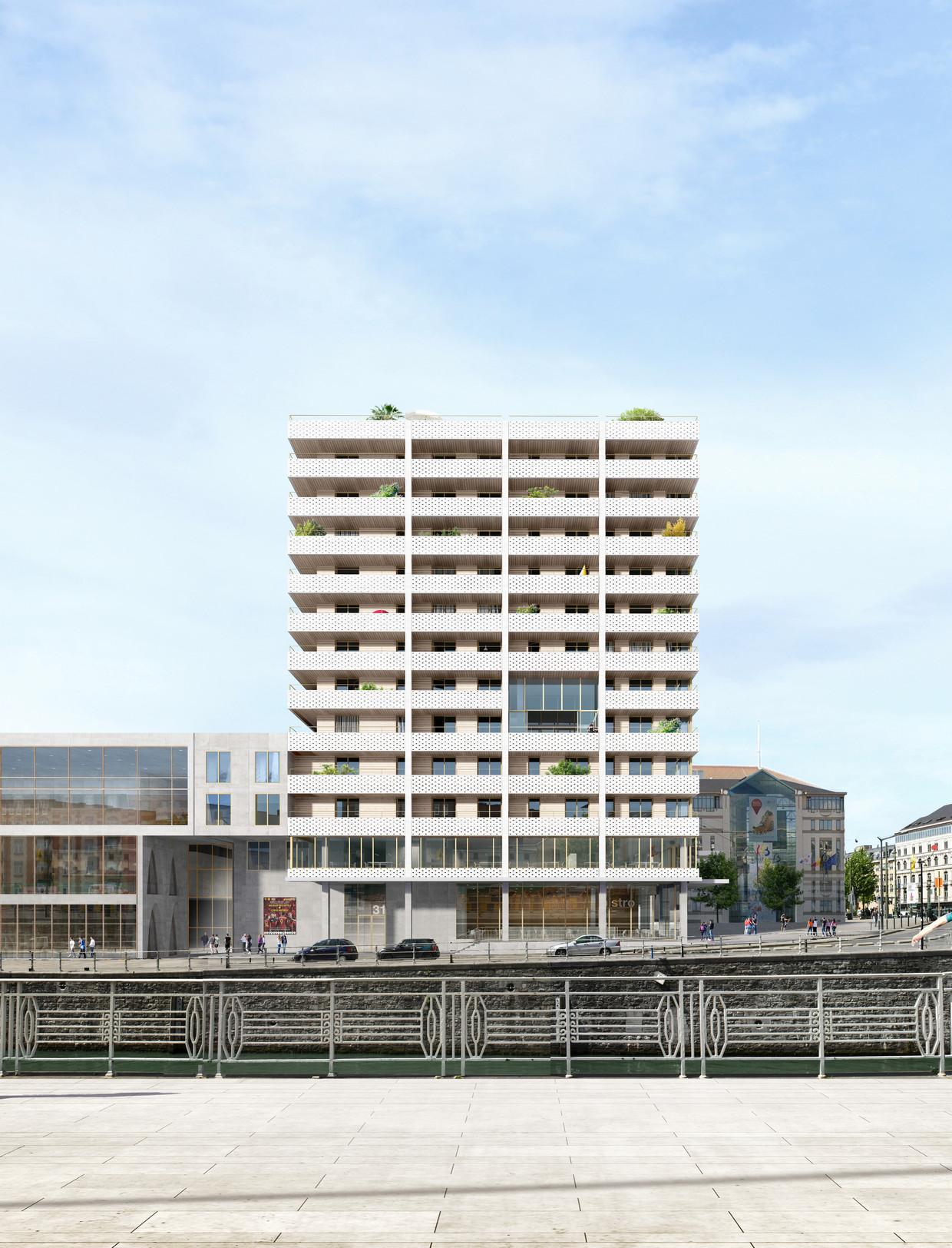Het winnende wedstrijdconcept van Dockside waarmee V+ - MSA – TRANS het project aan Sainctelette binnenhaalde