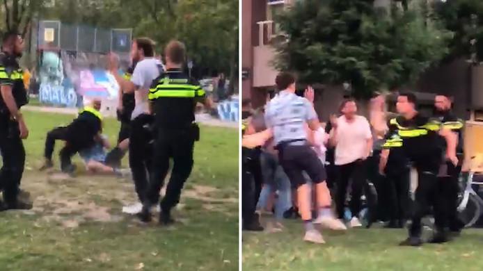 Een still uit één van de video's over het harde politieoptreden op Park Paardenveld in Utrecht.