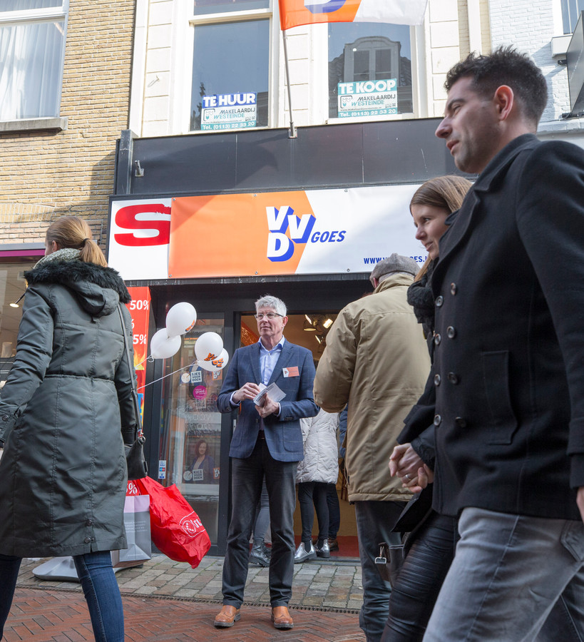 De verkiezingswinkel van de VVD.