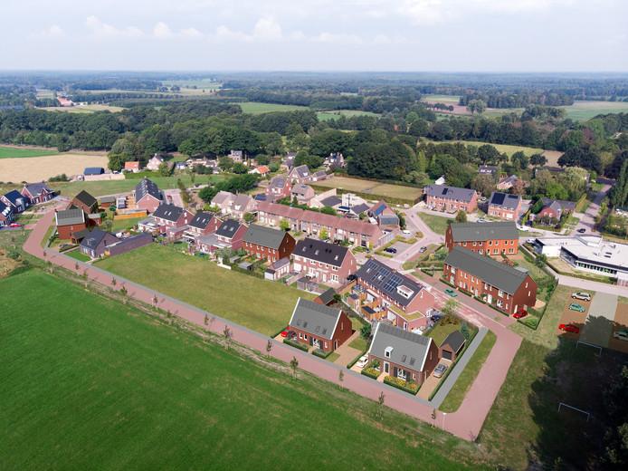 Impressie van uitbreidingslocatie De Hasselt in Lage Mierde, waar aannemer J.A. van Gisbergen woningen gaat bouwen.