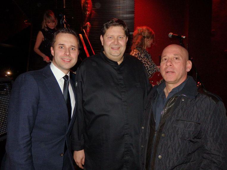 Vlnr: Roy Tomassen, general manager, Schilo van Coevorden, chef bij Taiko en Georgi Akirov, eigenaar van het Conservatorium Hotel Beeld Schuim