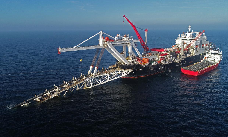 Het schip Audacia dat deel uitmaakte van de operatie om een Russische gasleiding aan te leggen. Beeld Bernd Wüstneck/dpa