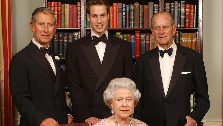 De Britse koningin, haar echtgenoot prins Philip, prins Charles en prins William. Beeld epa