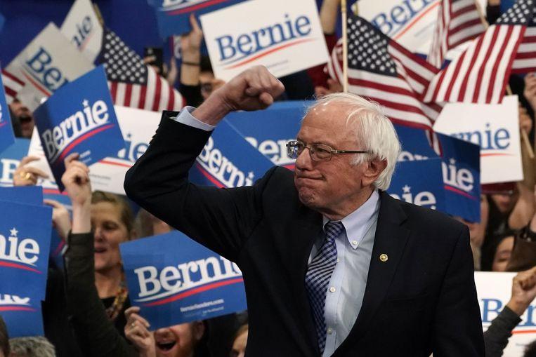 Kandidaat Bernie Sanders op campagne in New Hampshire. (11/02/2020)