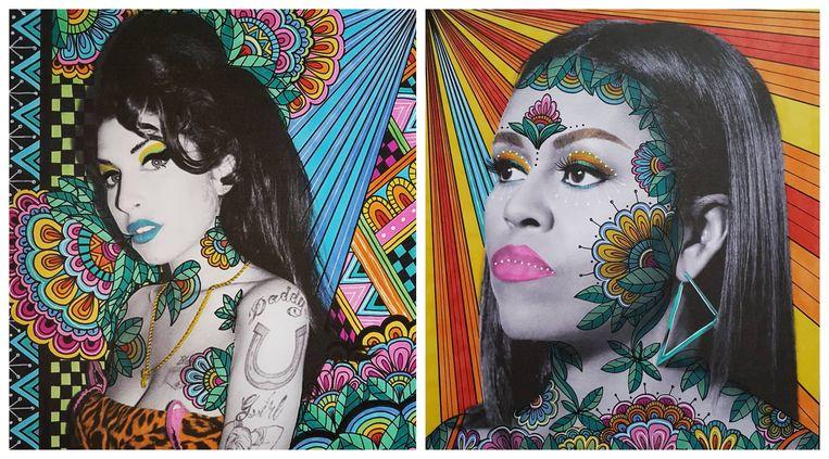 Vix Harris maakt portretten van invloedrijke vrouwen, zoals Amy Winehouse en Michelle Obama