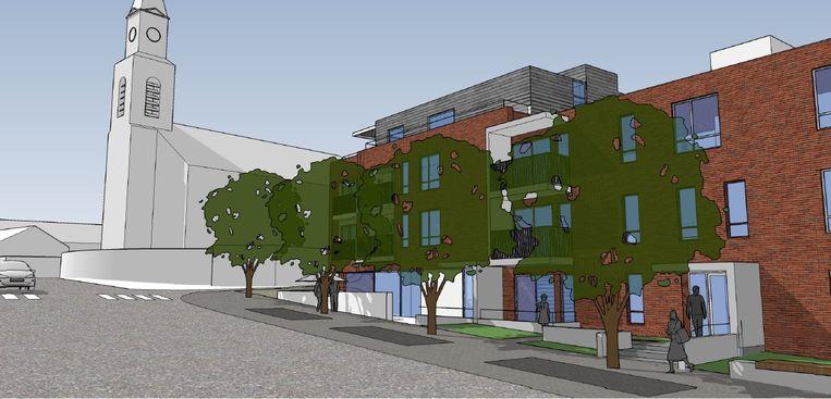 Zo zullen de seniorenflats en het ontmoetingscentrum voor senioren langs de Edingsesteenweg eruit zien.