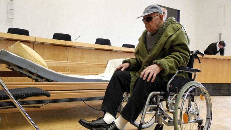 Demjanjuk in de rechtszaal in München. Beeld epa