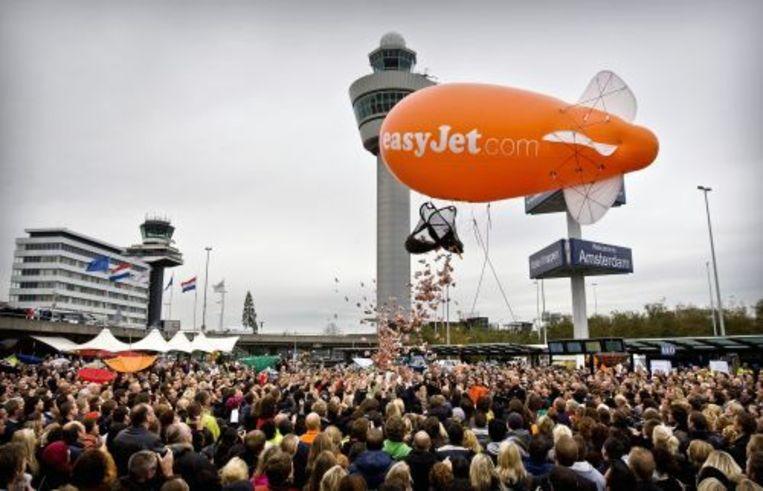 Reclamestunt van easyJet op Schiphol. ANP Beeld