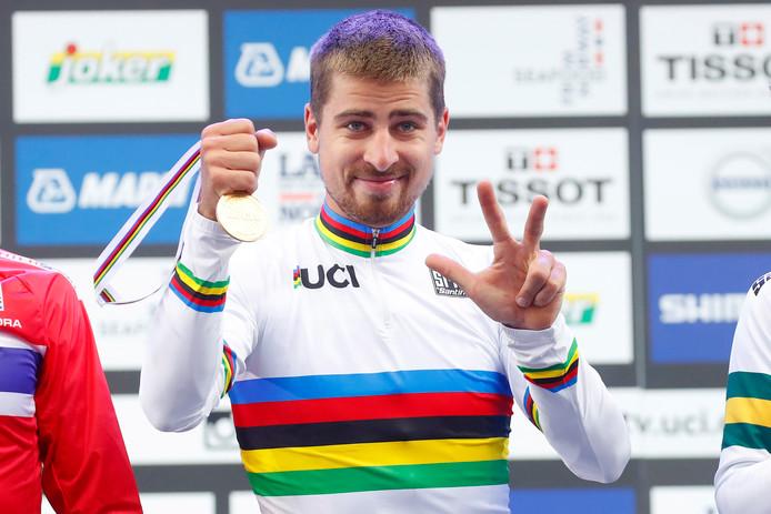 Peter Sagan werd in het Noorse Bergen voor de derde keer op rij wereldkampioen op de weg.