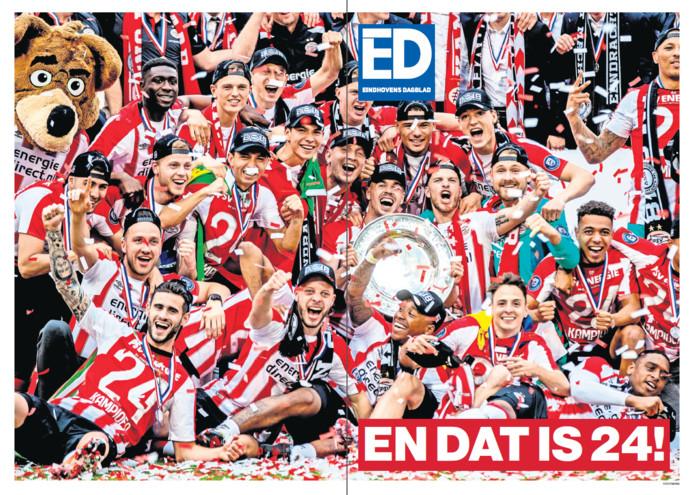De cover van de kampioensbijlage van PSV bij het ED.