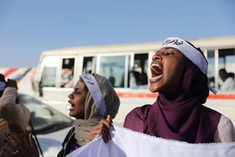 Soedanse vrouwen bij een demonstratie om aandacht te vragen voor het geweld tegen vrouwen en kinderen, in november 2019. Beeld EPA