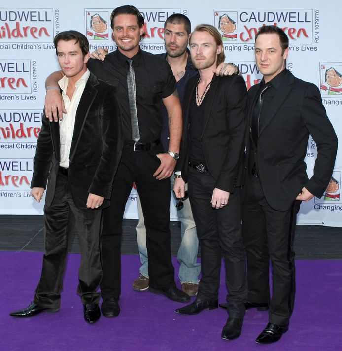 Boyzone in 2008, met van links naar rechts Stephen Gately, Keith Duffy, Shane Lynch, Ronan Keating en Mikey Graham