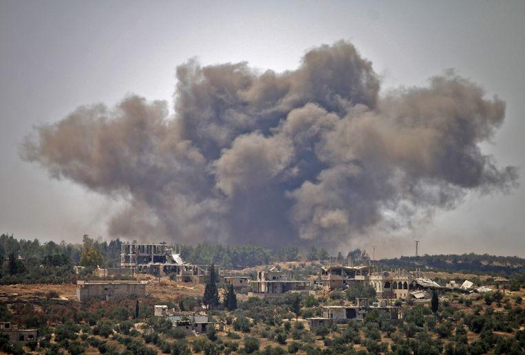 Rook boven Daraa. Beeld AFP