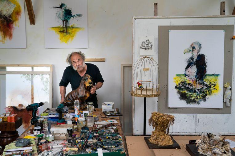 Kunstenaar Onno Hooymeijer in zijn atelier. Rechts naast hem de Schelpenkoning (ghriseamhiax rex). Beeld foto Reyer Boxem