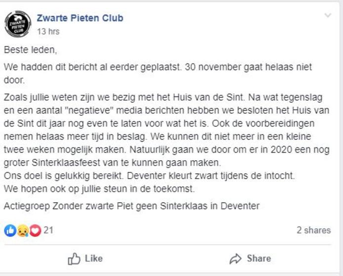 Op Facebook kondigt de organisatie aan dat het evenement toch niet doorgaat.