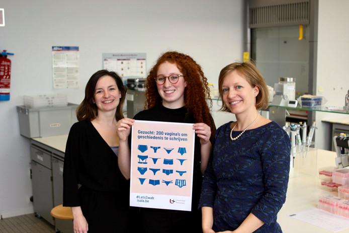 Eline Oerlemans, Sarah Ahannach en Sarah Lebeer willen de geheimen van het vrouwelijk microbioom in kaart brengen.