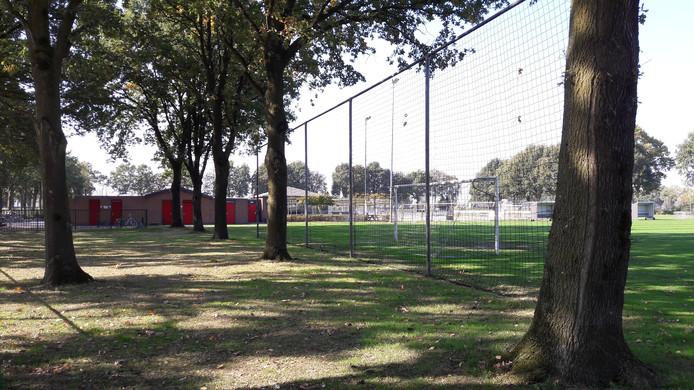 De beoogde locatie van het nieuwe multifunctionele centrum, naast de kantine van EDN'56 op sportpark De Haan. Het veld moet dan 90 graden worden gedraaid.