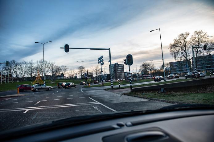 Ook geen stroom op de verkeerslichten op het Traianusplein in Nijmegen.
