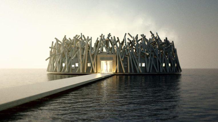 Gasten kunnen het Arctic Bath hotel via een ponton bereiken.