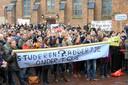 Een eerder protest van docenten in Wageningen op de markt.