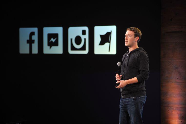 Mark Zuckerberg, mede-oprichter van Facebook. Zijn bedrijf kocht concurrenten Instagram en Whatsapp op.  Beeld AFP