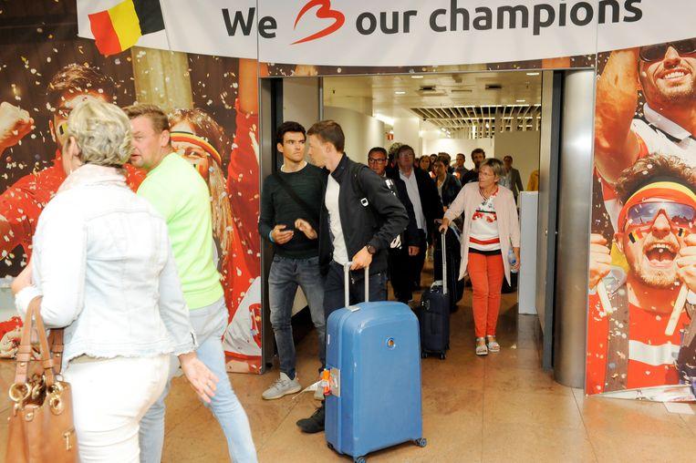 Brussels Airport had zelfs een banner voorzien voor de Belgische 'kampioenen'.