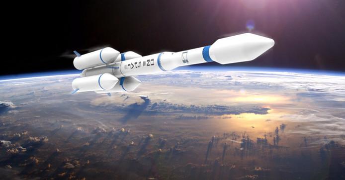 De raket kan een lading van 100 kilo in een baan om de aarde brengen