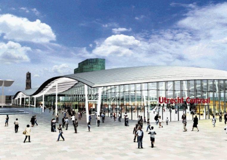 Ontwerp voor Utrecht CS. (Beeld: ProRail/ Benthem Crouwel Architekten.) Beeld
