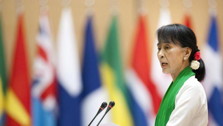 Suu Kyi vandaag in Genève. Beeld reuters