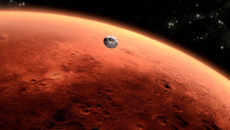 Een artist's impression hoe het Mars Science Laboratory de planeet Mars nadert. Beeld REUTERS