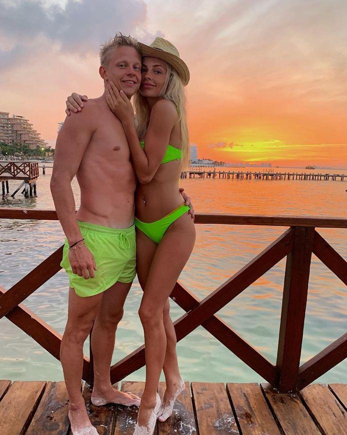Oleksandr Zinchenko en Vlada Sedan op vakantie in Mexico afgelopen zomer.