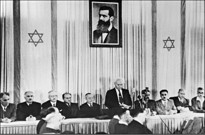 David Ben-Gurion tijdens de proclamatie  in 1948 van de staat Israël.