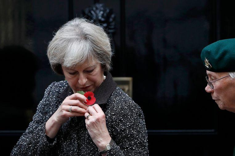 De Britse premier May speldt een klaproos op haar revers. Beeld reuters