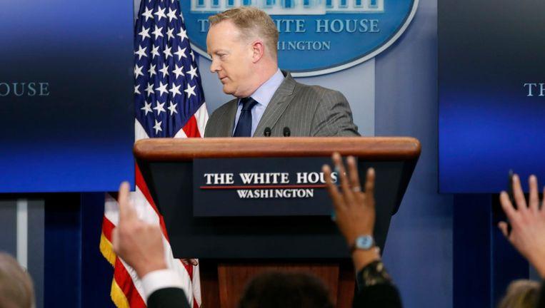 Geen vragen meer aan meneer Spicer. Punt uit. Beeld ap