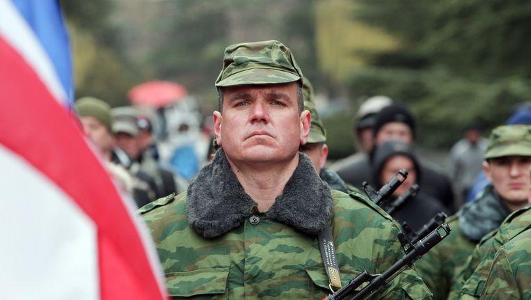 Pro-Russische bewoners van de Krim verzamelen zich. Beeld epa