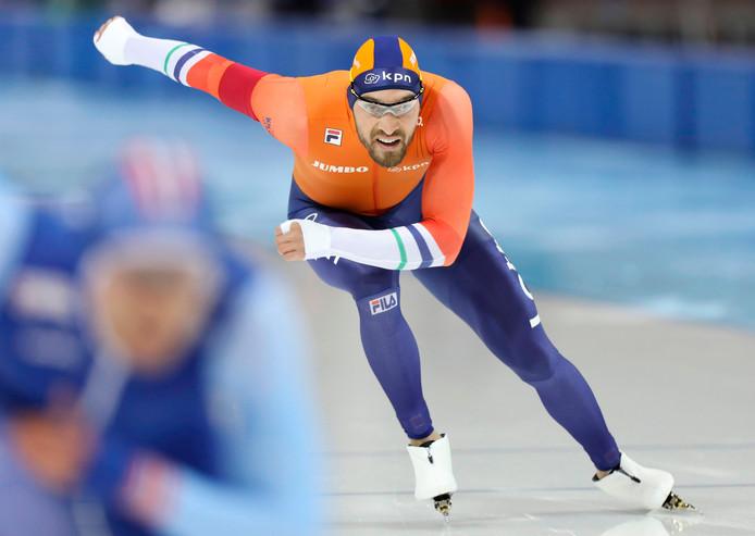 Kjeld Nuis in actie tijdens de Olympische Winterspelen.