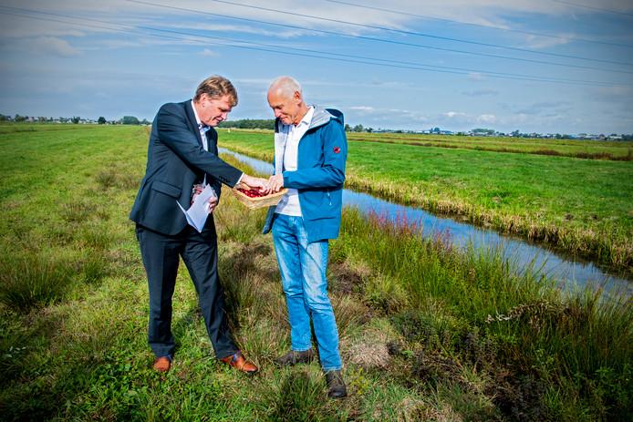 Bart Crouwers overhandigt de eerste cranberry's aan wethouder Jan Vente van Krimpenerwaard.