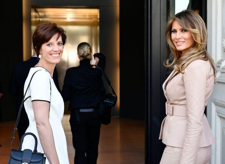 Melania Trump hier met Amelie Derbaudrenghien, partner van premier Charles Michel